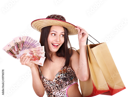 Woman with  money and shopping bag.