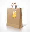 Shopping paper bag brown empty, vector illustration