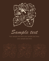 Stylized flower broun background. Vector hibiscus