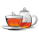 Drawing Teapot and cup of tea. Vector illustration