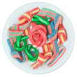 Colorful gummy candy (licorice) sweets on a white plate, isolate