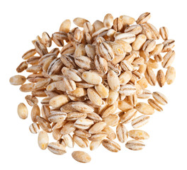 Pearl barley heap isolated on white