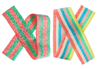 Multicolor gummy candy (licorice) band, isolated on white closeu