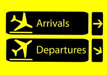 Señales de llegadas y salidas en el aeropuerto