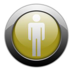 "Yellow Metallic Orb Button ""Men's Restroom"""