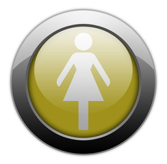 "Yellow Metallic Orb Button ""Ladies Restroom"""