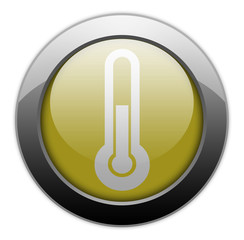 "Yellow Metallic Orb Button ""Thermometer / Temperature"""