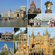 collage with landmarks of  Mumbai ( formerly Bombay), India, Asi