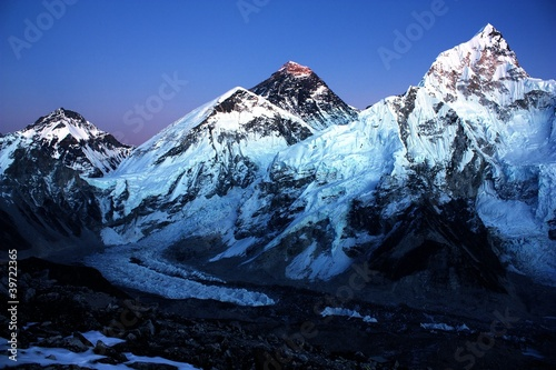 nightly view of Everest and Nuptse from Kala Patthar