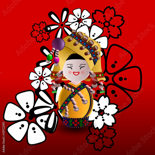 Chinese minority doll in yellow on a floral red background