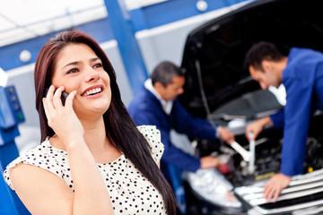 Woman calling mechanic