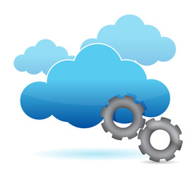 cloud computing and gear illustration design over white