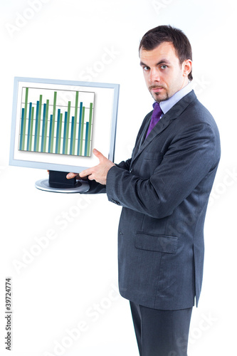 business graph with business man