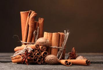 Cinnamon sticks, nutmeg and anise