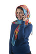 beautiful stylish islamic girl wearing hijab on the phone