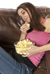 Movie night relaxing watching TV eating popcorn