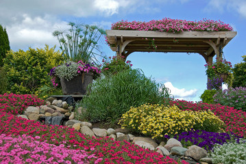 rock garden with trellis