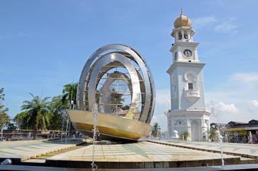 Queen Victoria Memorial clock tower in Penang island,Malaysia