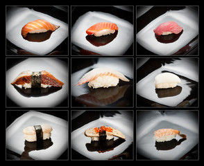 Set of 9 different nigirizushi (sushi)
