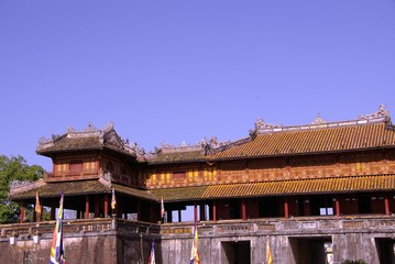 The entrance gate of the forbidden city in Hue in Vietnam