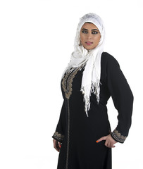 arabian lady wearing tradition islamic outfit with hijab