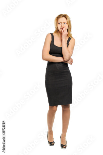 Woman looks with displeasure