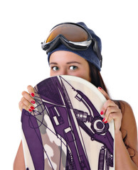 young girl looks out for snowboard