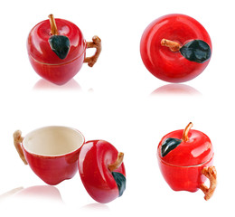 Set of apple cup isolated.