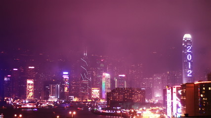 Hong Kong skyline with a fireworks. time lapse
