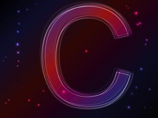 Energy plasma font. Letter C