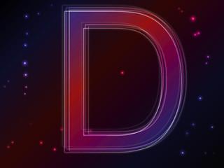 Energy plasma font. Letter D