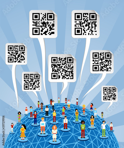 Global social media World with QR codes signs