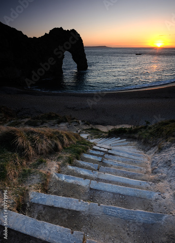 Sunset at Durdle Door Lulworth Dorset England.