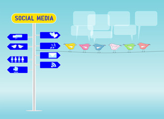 social media concept, illustration, free copy space