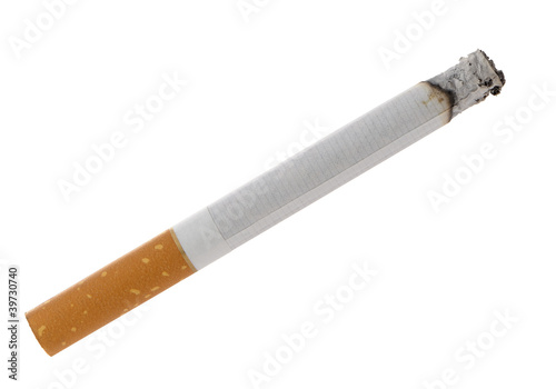 Burning cigarette with ashes