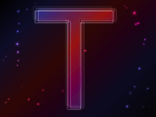 Energy plasma font. Letter T