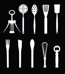 Kitchen equipments on black background