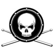 Vector jolly Roger drum skull with drumsticks