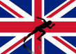 Sprinter on Union Flag background. vector file