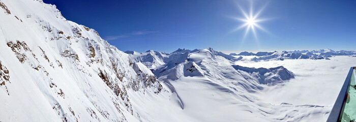 Panorama in Kitzsteinhorn ski resort, Austrian Alps