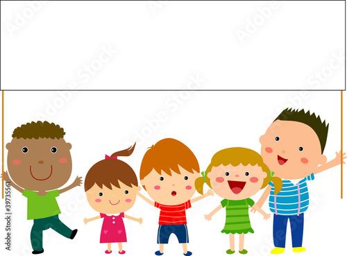 Fotobehang Indiërs kids and banner