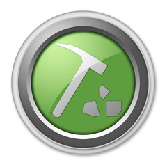 "Green 3D Style Button ""Rock Collecting"""