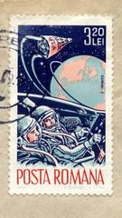 "Vintage romanian postage stamp ""Gemini-3 spaceflight"""