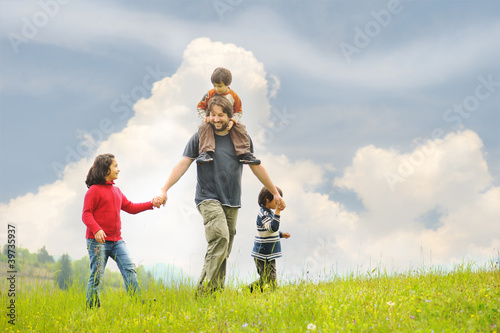 Father and children, Happiness together