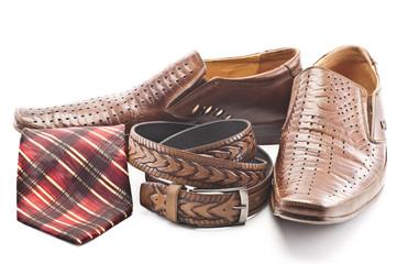 Men's shoes, tie and men's belt