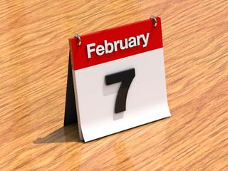 Calendar on desk - February 7th