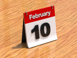 Calendar on desk - February 10th