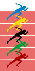 athletes starting on athletic track background. vector file.