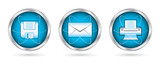 Save mail print icon set buttons