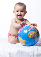 smiling baby protecting the earth